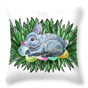 Nesting Easter Bunny Throw Pillow