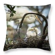 Nesting Egret Throw Pillow