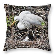 Nesting Great Egret With Chick Throw Pillow