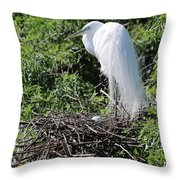 Nesting Great Egret With Egg Throw Pillow