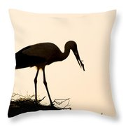 Nesting Stork Throw Pillow
