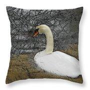 Nesting Swan Throw Pillow