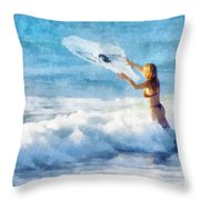 Net Fishing The Sea Throw Pillow