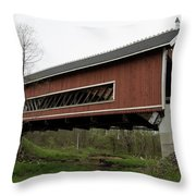 Netcher Road Covered Bridge 2 Throw Pillow