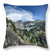 Nevada And Vernal Falls From Near Grizzly Peak - Yosemite Valley Throw Pillow
