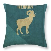 Nevada State Facts Minimalist Movie Poster Art Throw Pillow