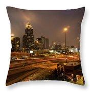 Never Sleeping Atlanta In Motion Midtown Light Trails Art Throw Pillow