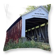 Nevins Covered Bridge Indiana Throw Pillow