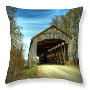 Nevins Covered Bridge Throw Pillow