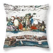 New Amsterdam, 1673 Throw Pillow
