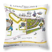 New Amsterdam Map, 1661 Throw Pillow