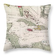 New And Accurate Map Of The West Indies Throw Pillow by American School
