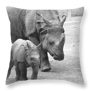 New Born Rhino And Mom Throw Pillow