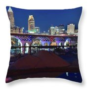 New Bridge From Along The River Throw Pillow