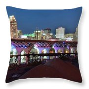 New Bridge Pano Throw Pillow