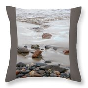New England Beach With Rocks And Waves Throw Pillow