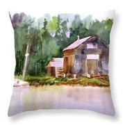 New England Boat Repair Throw Pillow