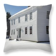 New England Colonial Home In Winter Throw Pillow