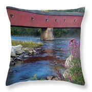 New England Covered Bridge Connecticut Throw Pillow
