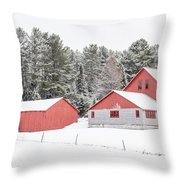 New England Farm With Red Barns In Winter Throw Pillow