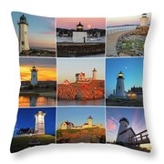 New England Lighthouse Collage Throw Pillow