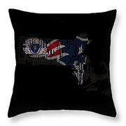 New England Patriots Typographic Map 03 Throw Pillow