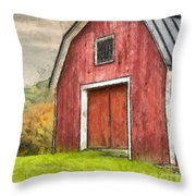New England Red Barn Pencil Throw Pillow