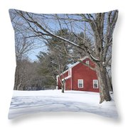 New England Red House Winter Throw Pillow
