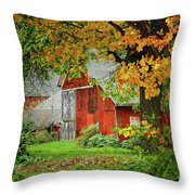 New England Rustic - New England Fall Landscape Red Barn Throw Pillow