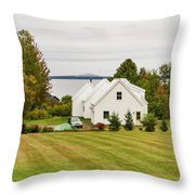 New England Traditional House In The Fall Throw Pillow