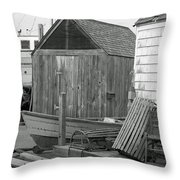 New England Wharf Scene In Black And White Throw Pillow