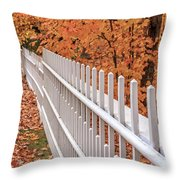 New England White Picket Fence With Fall Foliage Throw Pillow
