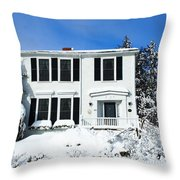 New England Winter Throw Pillow