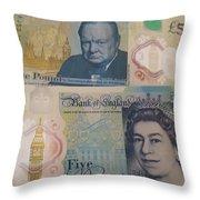 New Five Pound Notes Throw Pillow
