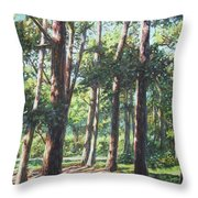 New Forest Trees With Shadows Throw Pillow