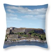 new fortress and port Corfu town Greece Throw Pillow