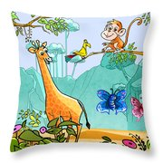 New Friends In The Jungle Throw Pillow