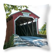 New Germantown Covered Bridge Throw Pillow