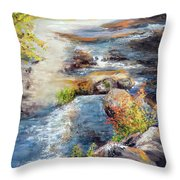 New Hampshire Creek In Fall Throw Pillow