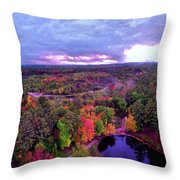 New Hampshire Fall Sunset Over Pond Throw Pillow