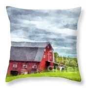 New Hampshire Landscape Red Barn Etna Throw Pillow