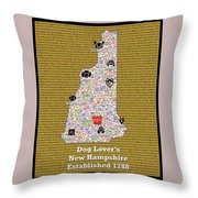 New Hampshire Loves Dogs Throw Pillow
