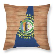 New Hampshire Rustic Map On Wood Throw Pillow