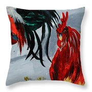 New Harmony Roosters Throw Pillow