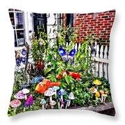 New Hope Pa - Garden Of Ceramic Mushrooms Throw Pillow