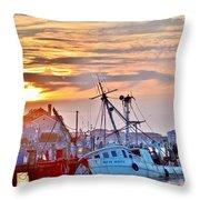 New Hope Sunrise - Sunken Ship At West Ocean City Harbor Throw Pillow