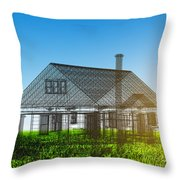 New House Wireframe Project On Green Field Throw Pillow