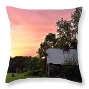 New Jersey Barn Sunset Throw Pillow