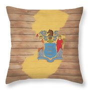 New Jersey Rustic Map On Wood Throw Pillow