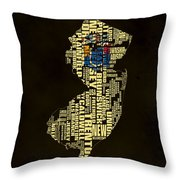 New Jersey Typographic Map 02 Throw Pillow